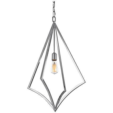 "Feiss Nico 19"" Wide Chrome 1-Light Open-Diamond Pendant"