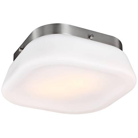 "Feiss Saul 13"" Wide 2-Light Satin Nickel Ceiling Light"