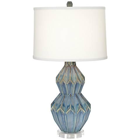 Avalon Weathered Turquoise Ceramic Zig Zag Table Lamp