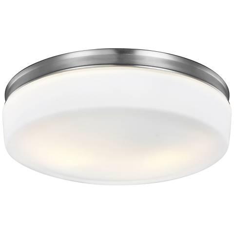 "Feiss Issen 13 1/2"" Wide 2-Light Satin Nickel Ceiling Light"