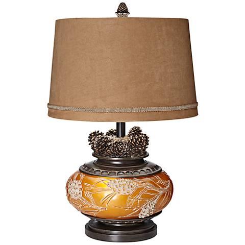 Pine Peak Amber Orb Etruscan Gold Pinecone Table Lamp
