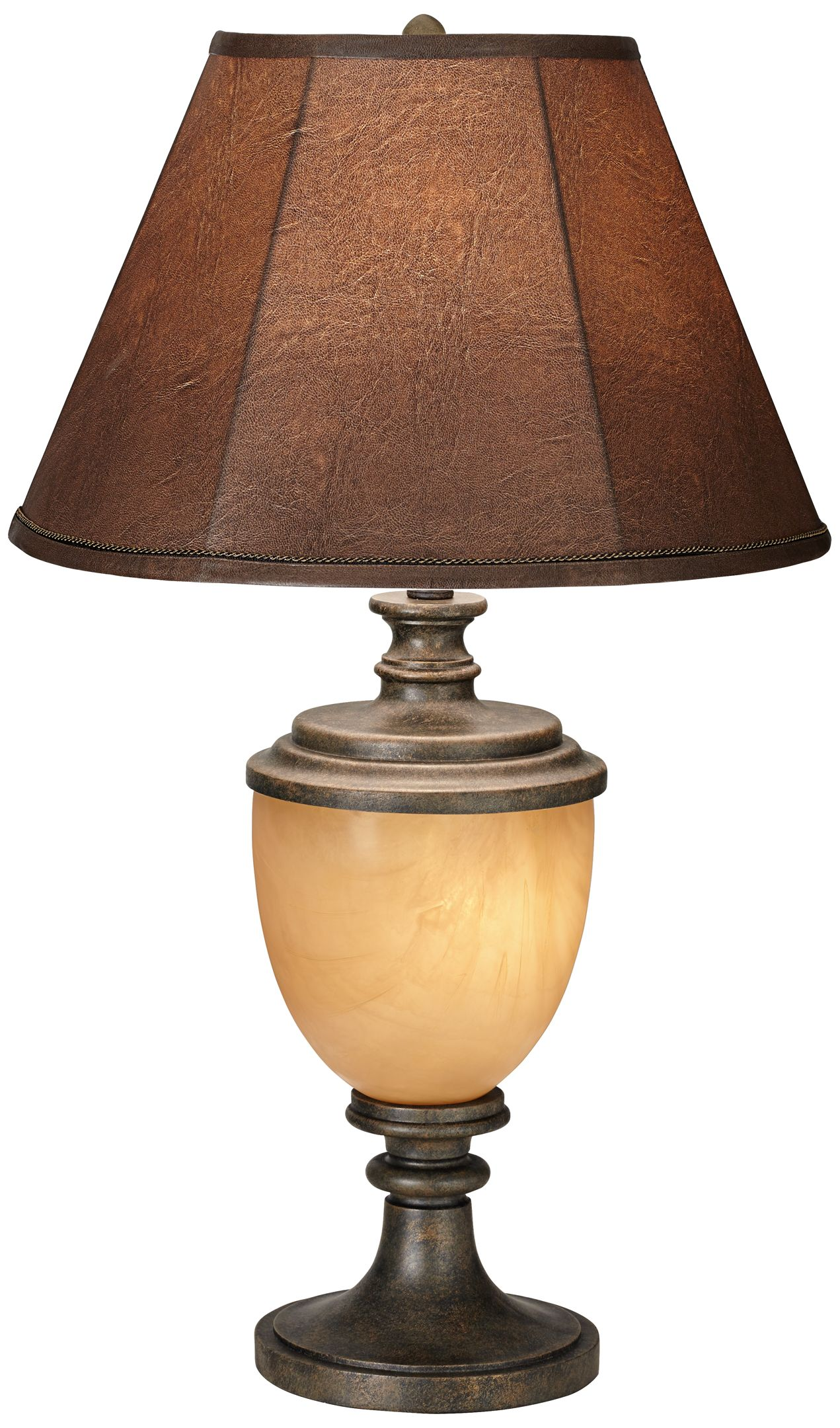 Alberta Antique Bronze Wood Urn Table Lamp With