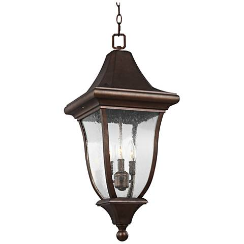 "Oakmont 28 1/4""H Patina Bronze 3-Light Outdoor Hanging Light"