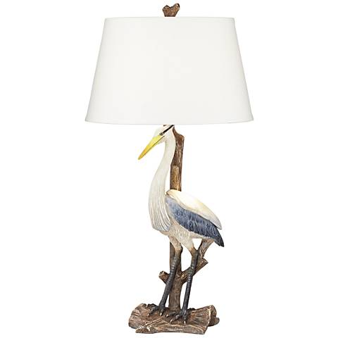 Marty del Mar White Heron Coastal Table Lamp with Nightlight