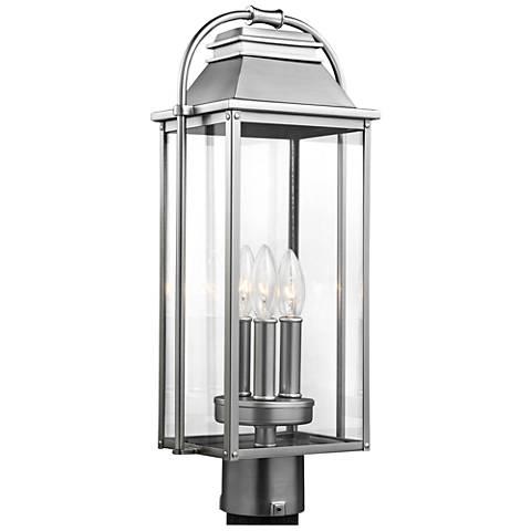 "Wellsworth 20 3/4""H Brushed Steel 3-Light Outdoor Post Light"