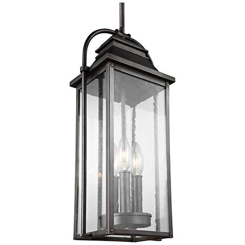 "Wellsworth 8 1/2""H Bronze 3-Light Outdoor Hanging Light"