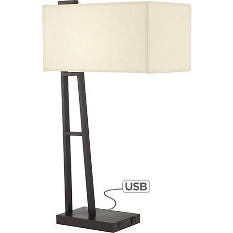 Castor Matte Black Linear Modern Table Lamp with USB Port