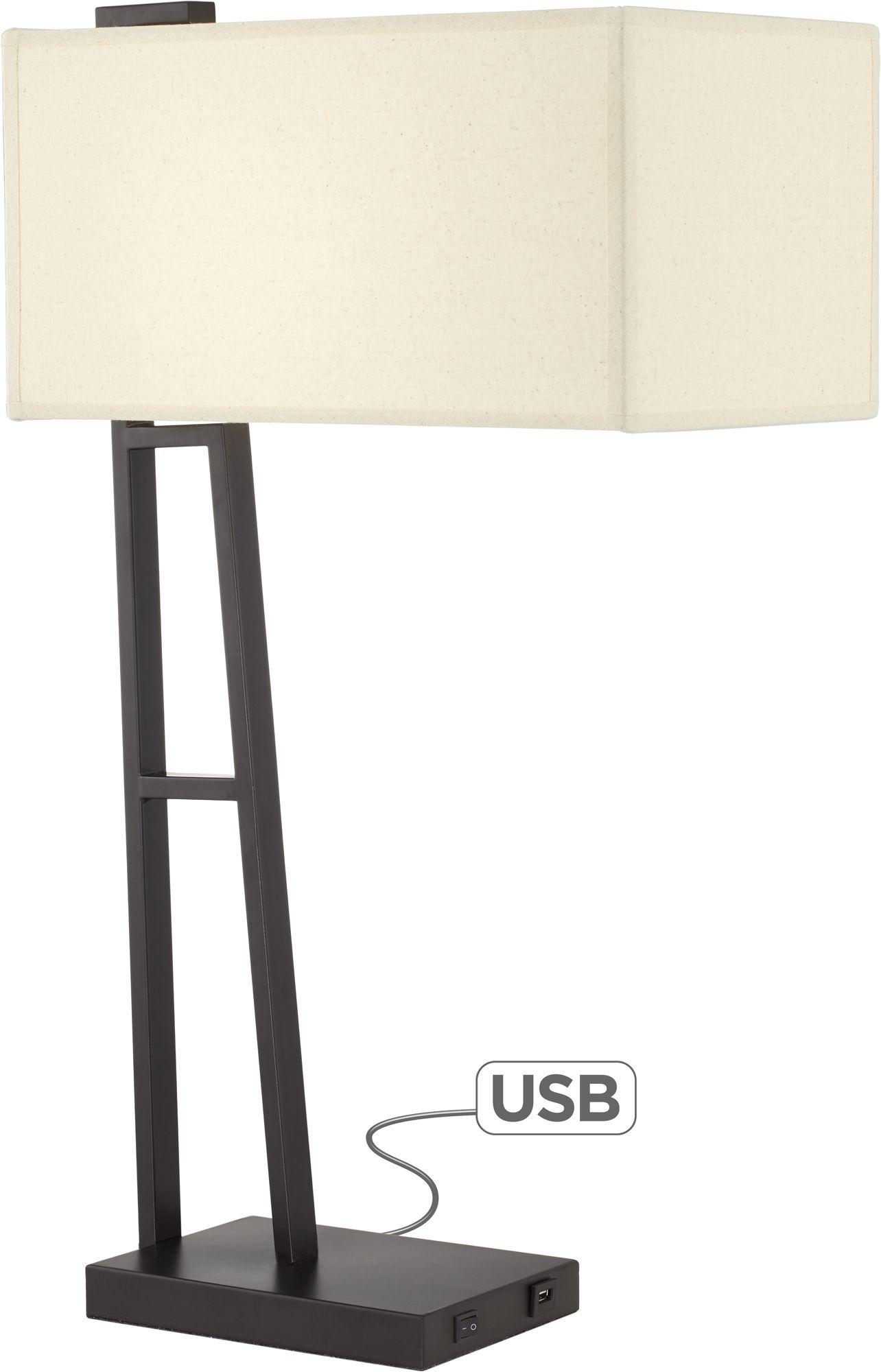 castor matte black linear modern table lamp with usb port