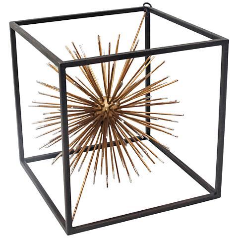 """Taurus Gold 8 1/4"""" High Metal Starburst Table Sculpture"""