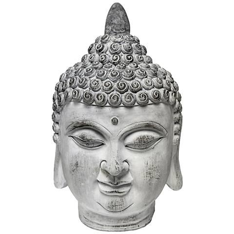 """Thai Buddha Head Gray 21"""" High Statue"""