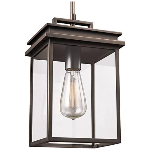 "Feiss Chappman 13"" High Antique Bronze Outdoor Hanging Light"