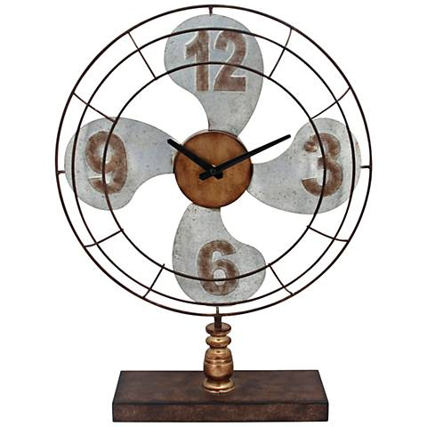 "Air Time Multi-Color 22"" High Metal Fan Table Clock"