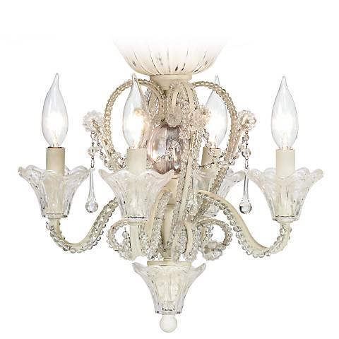 Pull Chain Crystal Bead Candelabra Ceiling Fan Light Kit