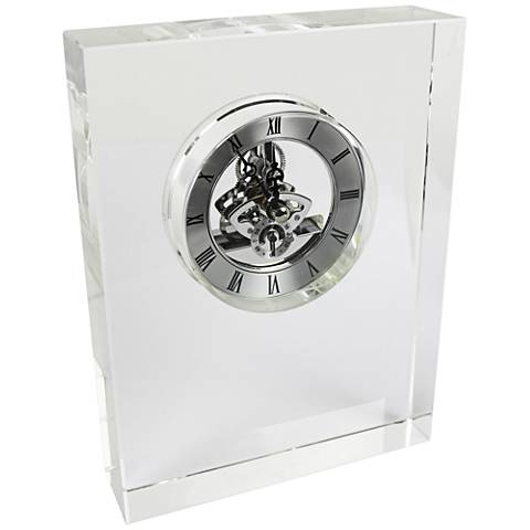 "Quantum Silver 8"" High Glass Table Clock"