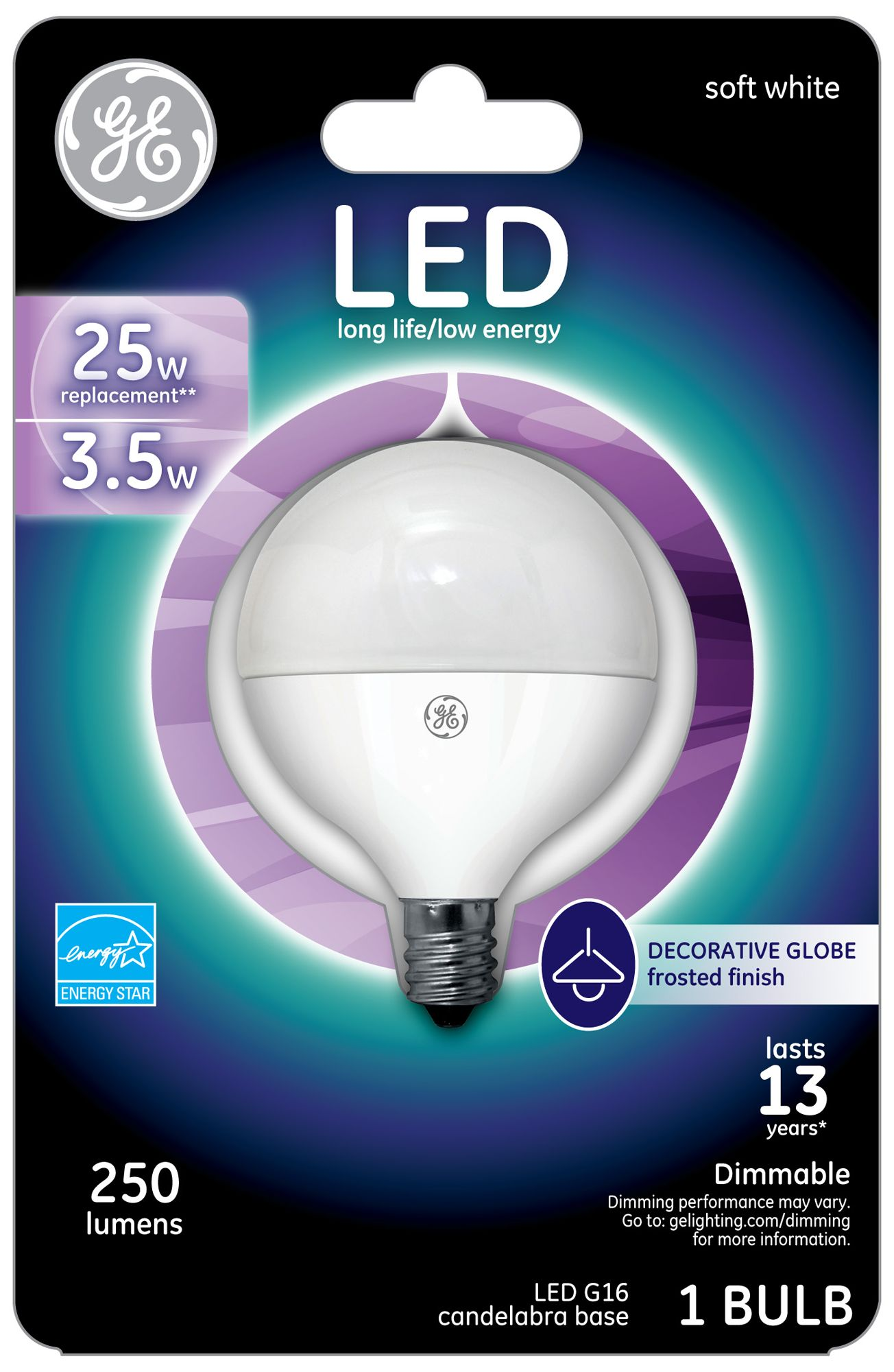 25 Watt Equivalent GE Frosted 3.5W LED Dimmable Candelabra  sc 1 st  L&s Plus & Low Wattage Light Bulbs - 3 to 15 Watts | Lamps Plus azcodes.com
