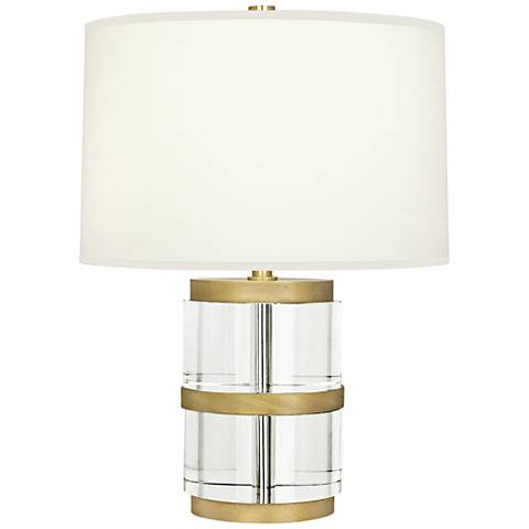 Robert Abbey Wyatt Clear Crystal Column and Fondine Accent Lamp