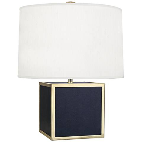 Robert Abbey Anna Navy Cube Faux Snakeskin Accent Lamp