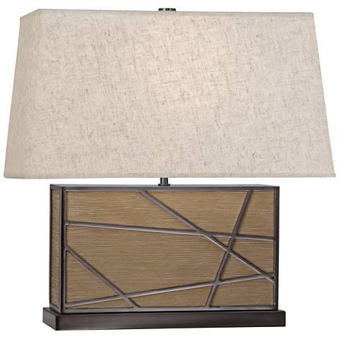 Robert Abbey Michael Berman Bond Wide Oak and Heather Table Lamp