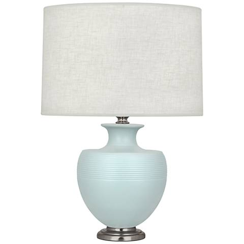 Michael Berman Atlas Nickel and Sky Blue Ceramic Table Lamp