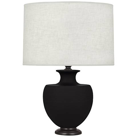 Michael Berman Atlas Bronze and Dark Coal Ceramic Table Lamp