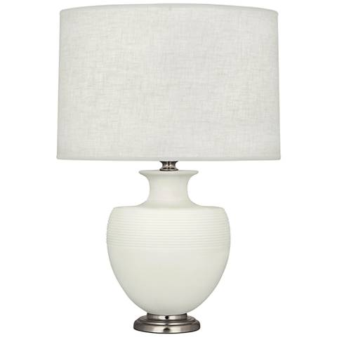 Michael Berman Atlas Nickel and Lily Ceramic Table Lamp