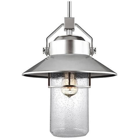 "Feiss Boynton 15 1/2""H Brushed Steel Outdoor Hanging Light"