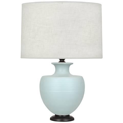 Michael Berman Atlas Bronze and Sky Blue Ceramic Table Lamp