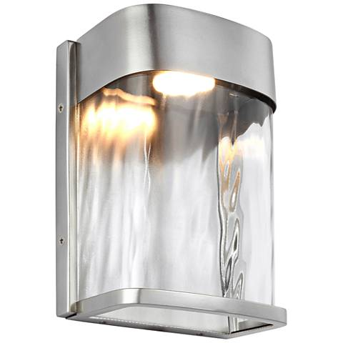"Feiss Bennie 8"" High Brushed Steel LED Outdoor Wall Light"