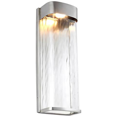 "Feiss Bennie 16"" High Brushed Steel LED Outdoor Wall Light"