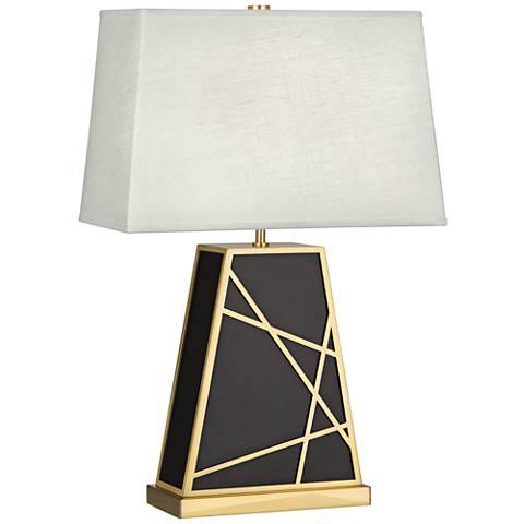 Michael Berman Bond Oyster Shade Deep Patina Bronze Table Lamp