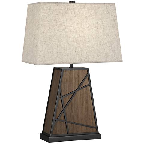 Michael Berman Bond Heather Shade Smoked Walnut Wood Table Lamp