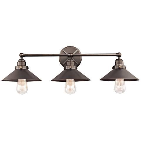 """Feiss Hooper 31 1/2"""" Wide 3-Light Antique Bronze Bath Light"""