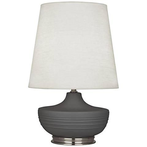 Michael Berman Nolan Nickel and Ash Ceramic Table Lamp