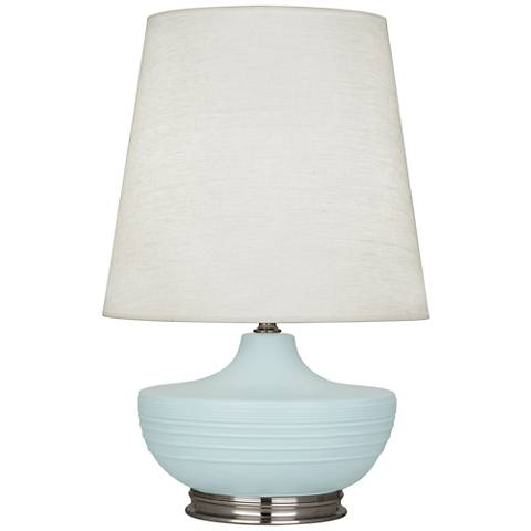 Michael Berman Nolan Nickel and Sky Blue Ceramic Table Lamp