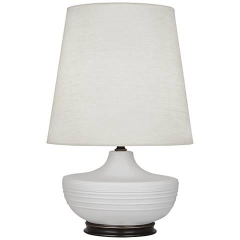 Michael Berman Nolan Bronze and Dove Gray Ceramic Table Lamp