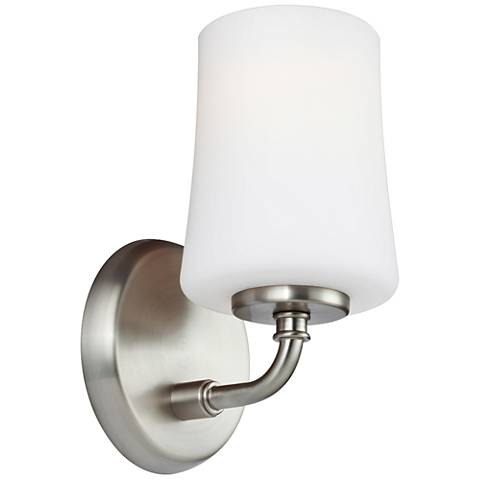 "Feiss Jennie 9"" High Satin Nickel Wall Sconce"