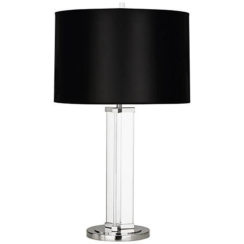 Fineas Nickel Glass Table Lamp with Black Opaque Shade