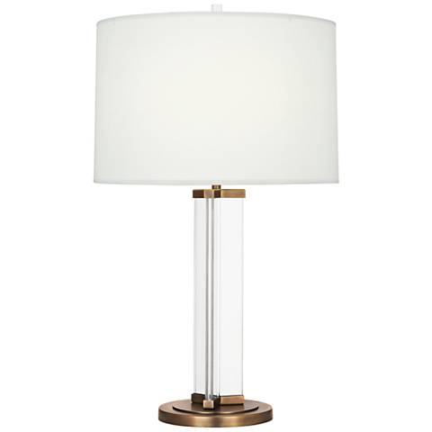 Fineas Aged Brass Glass Table Lamp with Off-White Shade