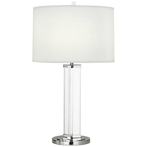 Fineas Polished Nickel Glass Table Lamp with Ascot White Shade