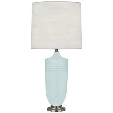 Michael Berman Hadrian Nickel and Blue Ceramic Table Lamp