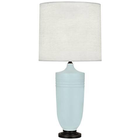 Michael Berman Hadrian Bronze and Blue Ceramic Table Lamp