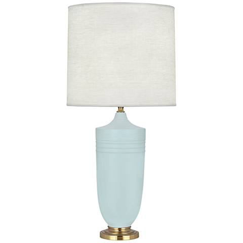 Michael Berman Hadrian Brass and Sky Blue Ceramic Table Lamp
