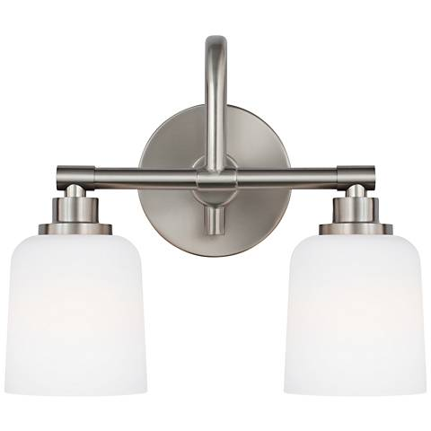 "Feiss Reiser 12"" High 2-Light Satin Nickel Wall Sconce"