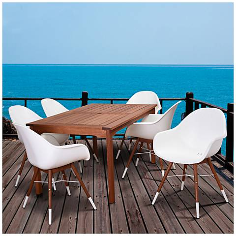 Los Altos White Shell 7-Piece Small Patio Dining Set