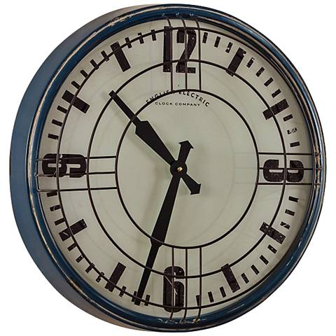 "Cooper Classics Sanders Distressed Blue 17"" Round Wall Clock"