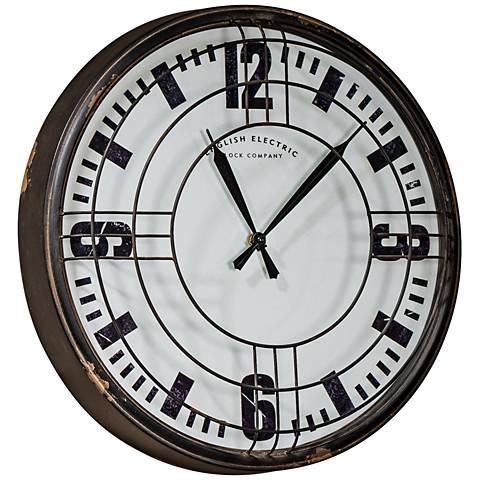 "Cooper Classics Ayla Distressed Black 17"" Round Wall Clock"