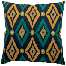 "Navy Blue Yellow Diamond Ikat 20"" Square Decorative Pillow"