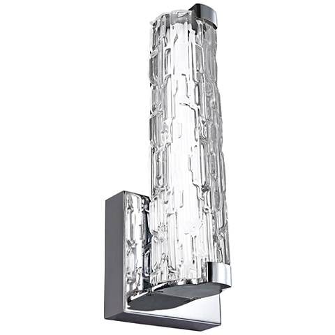 "Feiss Cutler 13 1/2""H Chrome and Stone Glass LED Wall Sconce"