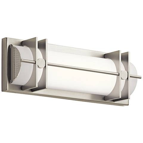 "Elan Nolan 16"" Wide Brushed Nickel LED Bath Light"