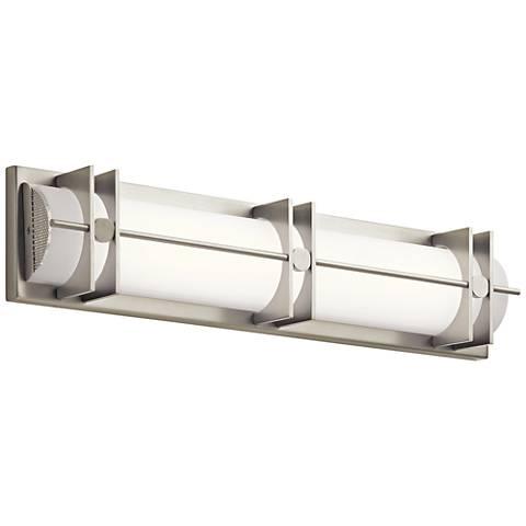 """Elan Nolan 25"""" Wide Brushed Nickel LED Bath Light"""